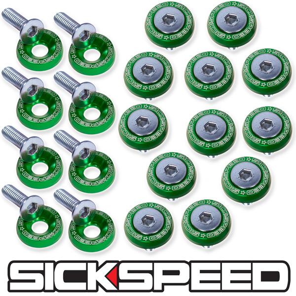 GREEN 40 PC BILLET ALUMINUM FENDER//BUMPER WASHER//BOLT ENGINE BAY DRESS UP P6